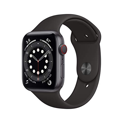 Apple Watch Series 6 44mm (GPS + Cellular) - Space Grey Aluminium Case with Black Sport Band (Renewed)