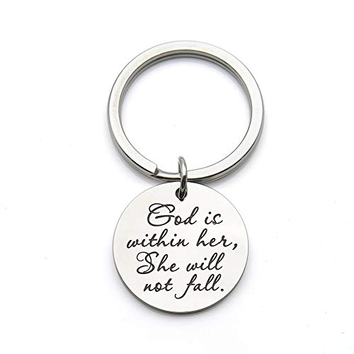 God is Within her she Will not Fall Scripture Quote Keychain Encouragement Bible Verse Gift Stainless Steel Keychain