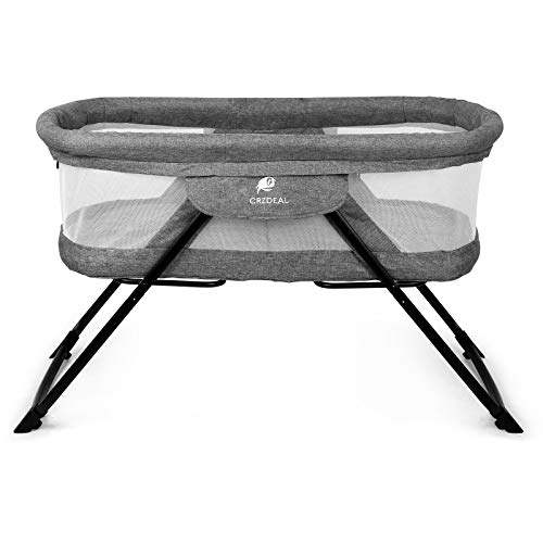 CRZDEAL 2-in-1 Stationary One-Second Fold Travel Crib Portable