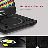 """WONNIE Portable DVD player, 7.5"""" DVDs Player for Kids and Car, Swivel Screen Support SD card USB CD DVD with AV IN/OUT Built-in 5000mAh Rechargeable Battery"""