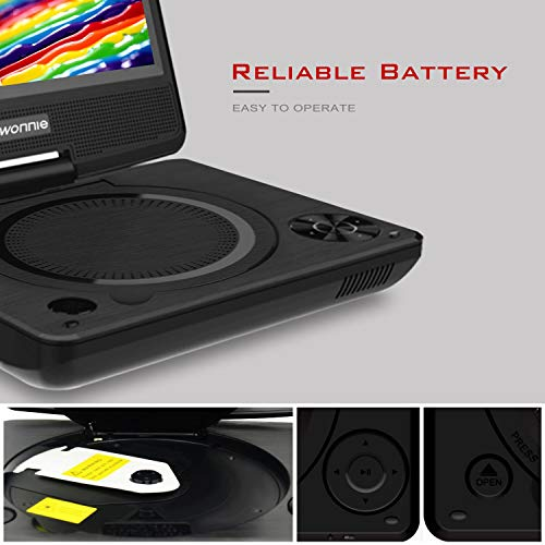 """WONNIE Portable DVD player, 7.5"""" DVDs Player for Kids and Car, Swivel Screen Support SD card USB CD DVD with AV IN/OUT Built-in 4 Hours Rechargeable Battery"""