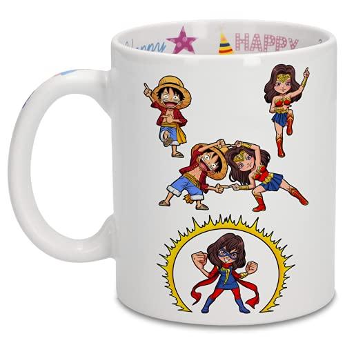 Taza de cumpleaños con impresión en el asa, en el interior y en el exterior - Parodia de One Piece - Wonder Woman - Miss Marvel- Luffy, Wonder Woman y Kamala aka Miss Marvel (Taza de primera calidad