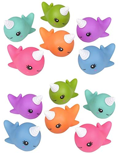 """HAPPY DEALS ~ 12 Pack- 2"""" Rubber Water Squirting NARWHAL Figures"""