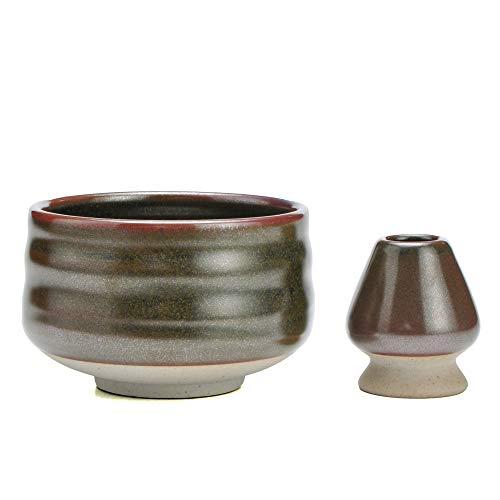 TEANAGOO MB-7 Juego de tazones de Porcelana Japonesa para Matcha y batidor de Matcha (Chasen), 18 oz / 510 ml, marrón, 2 Piezas/Cajas.