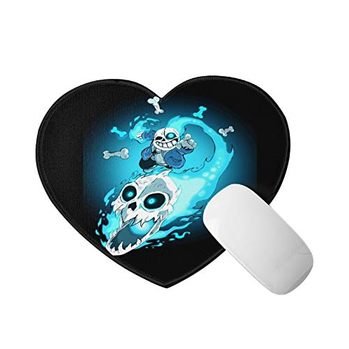 Und-er-Tale Sans Mini Mouse Pad with Stitched Edge Heart Shape Mouse Mat Rubber Base Mousepad for Laptop Computer & Pc Office Home 8x9.4 in