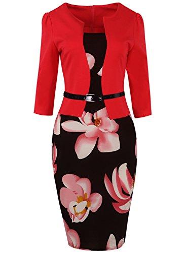 MisShow Damen 3/4 Arm Etuikleider 1950er Jahre Businesskleid Stretch Cocktailkleider Knielang, Rot, XXL
