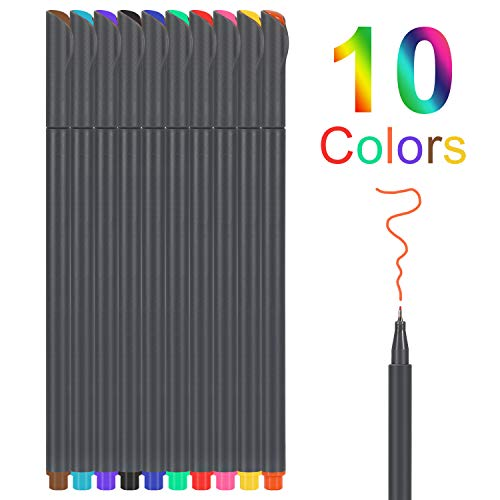 10 Colors Journal Planner Pens, Colored Fine Point Markers Drawing Pens Porous Fineliner Pen for Journaling and Taking Notes - Art School Office Supplies