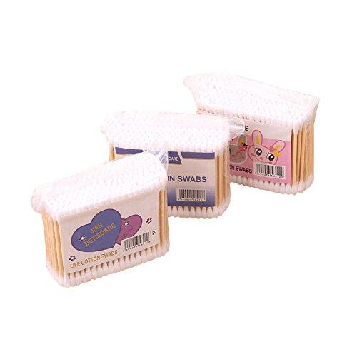 LAMEIDA 3pcs Cotons-tiges Tampons Hygiéniques Bâtons de Bambou Jetables à deux têtes Bâtons de nettoyage d'Accessoires Cosmétiques