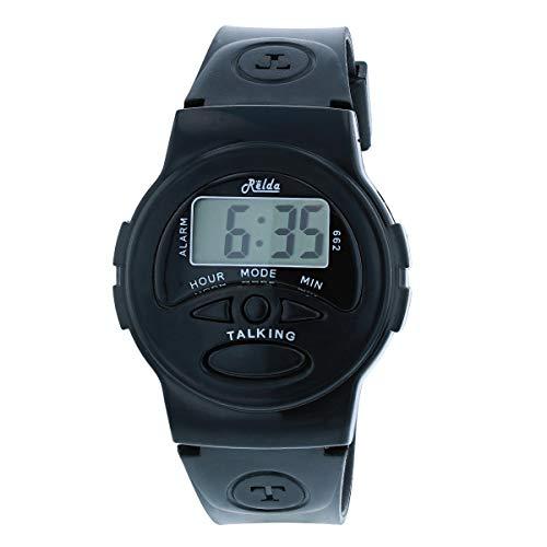 Relda REL133 - Orologio con sveglia digitale inglese e cinturino in plastica nera