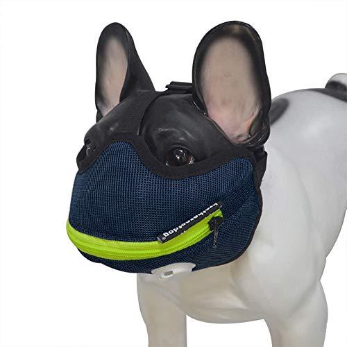 YZZR Bozal de Perro,Bozal Corto para Perro con Forma de Bulldog de Malla Transpirable Ajustable para mascarar,Cortar y Entrenar a Perros