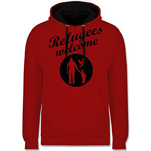 Shirtracer Statement - Refugees Welcome - M - Rot/Schwarz - Refugees Welcome - JH003 - Hoodie zweifarbig und Kapuzenpullover für Herren und Damen