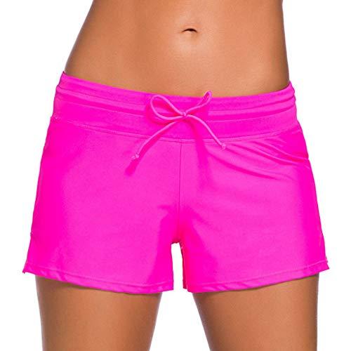 Badeshorts Damen Kurze Badehose Große Größen Schnell Trocknendes Boardshorts UV Schwimmshorts Beach Tankini Shorts Riou Sommer Sale (XL, Pink)