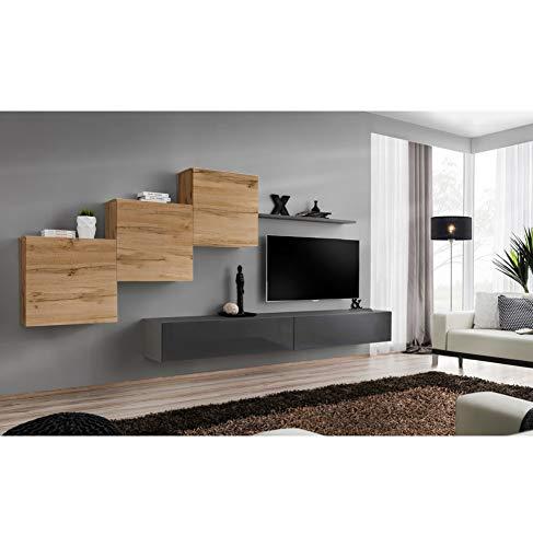 AC-Déco Ensemble Mural - Switch X - 3 Vitrines Carrées - 2 Bancs TV - 1 étagère - Bois Et Graphite - Modèle 1
