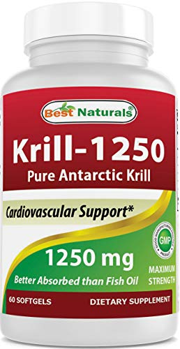 Best Naturals Pure Antarctic Krill Oil 1250 mg (Triple Strength) with Omega-3s EPA, DHA and Astaxanthin 60 Softgels