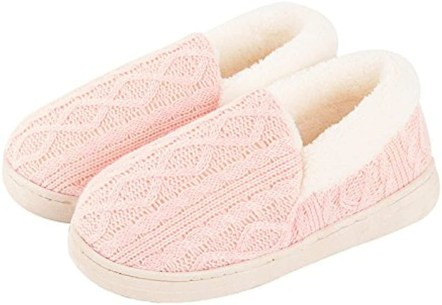 IANXI Home Bag with Winter Indoor Thick Cotton Slippers, Women's Autumn and Winter Warm Fur Slippers (color   Pink, Size   2)