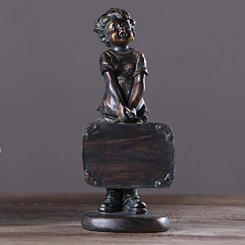 Estatua Decorativa para Jardín Niño Creativo con Una Maleta Esperando El Coche Estatua Artesanías De Resina Figuras De Morden Decoración del Hogar Regalo De Cumpleaños
