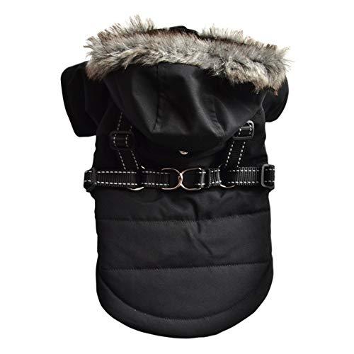 Manteau pour chien avec anneau en D trou de harnais pour animaux de compagnie chiot hiver pull à capuche vêtements chat imperméable épais veste chaud Chihuahua manteau