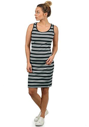 DESIRES Rahile Damen Kleid Sommerkleid Dress in Streifen-Optik mit Rundhals-Ausschnitt aus 100% Baumwolle, Größe:L, Farbe:Black (9000)