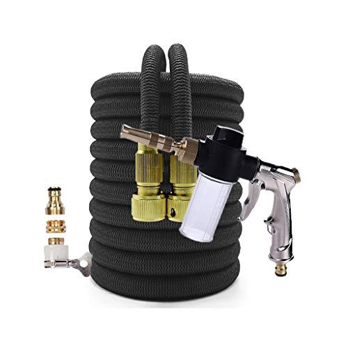 HAHFKJ Tubería de jardín de Manguera Ampliable Flexible de riego Flexible con Pistola de Agua Aerosol Herramientas de Limpieza de Lavado de Autos de Alta presión (Color : Black, Size : 125FT)