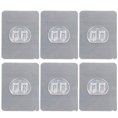 Cabilock 6 Stuks Roestvrijstalen Haaksticker Herbruikbare Scheermeshaak Ponsvrije Multifunctionele Wandhanger Voor Handdoek Badjas Loofah (Zilver)