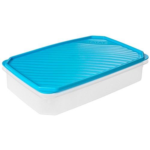 Tatay Fiambrera de Alimentos, Hermética, 2.1 L de Capacidad, Tapa Flexible a Presión, Libre de BPA, Apto Microondas y Lavavajillas, Color Azul, Medidas: 28.5 x 18.5 x 6 cm