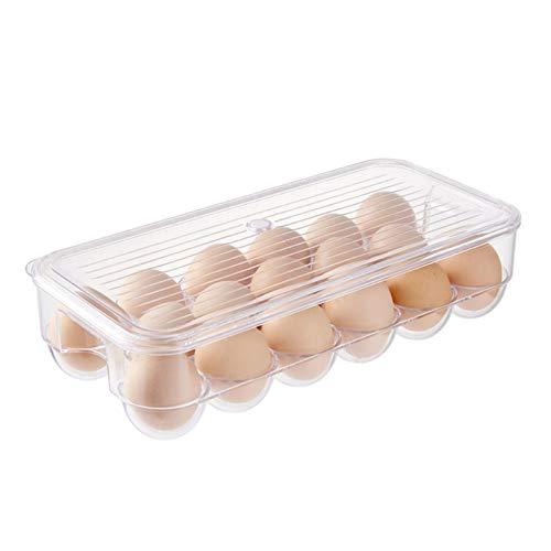 Groust Bandeja para huevos para nevera, grande, de plástico, apilable, con tapa, para 17 huevos/12 huevos, transparente
