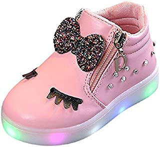 Children Shoes LED Luminous Soft Bottom Boots Sneakers Casual Shoes, Size:28(Red) Children Shoes (Color : Pink)