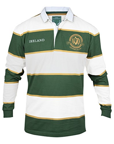 Croker Green and White Striped Rugby Jersey, Medium - Cotton Polyester Embroidered Long Sleeve Polo Shirt