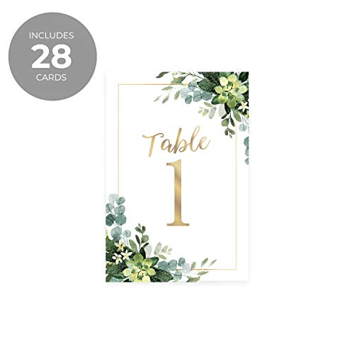 Lush Greenery Wedding Table Numbers / 28 Wedding Table Number Cards