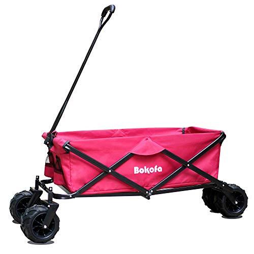 Bokofa Carro plegable para la playa, color rojo, con ruedas extra anchas,...