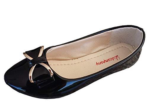 Zapatos - Bailarinas para Mujer - Brillante - Color Negro - Piel sintética - Lazo - Talla 36 EU - Idea de Regalo de cumpleaños - Navidad - Fiesta