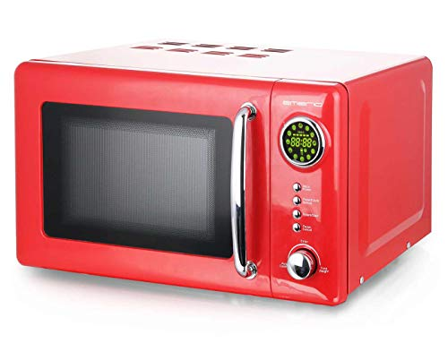 Rote 700 Watt Mikrowelle 20 Liter Garraum Drehteller Retro Design Emerio MW-112141 rot Mikrowellen-Gerät