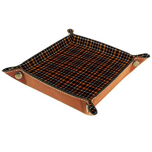ASDQWE - Bandeja de almacenamiento para dados de piel sintética, color negro, naranja y blanco, para llaves, cartera, para viajes, decoración