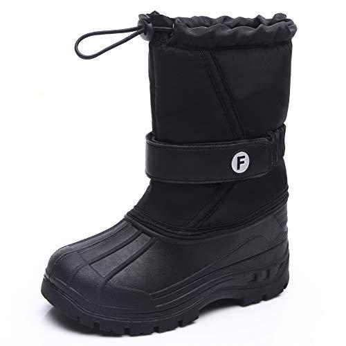 IceUnicorn Kinder Winterstiefel Jungen Mädchen Winterschuhe Schneestiefel Warm Gefütterte Outdoor Stiefel Winter Schuhe Snowboots(WM.Schwarz, 32EU)