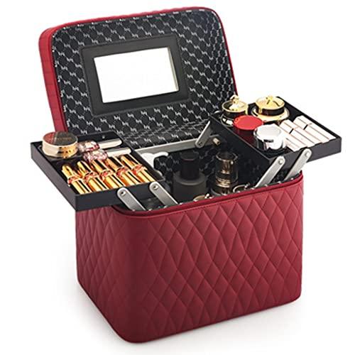 Cosmetic Cases Étui de rangement portable pour cosmétiques avec miroir (couleur : rouge, taille : 27,5 x 18 x 23,5 cm)