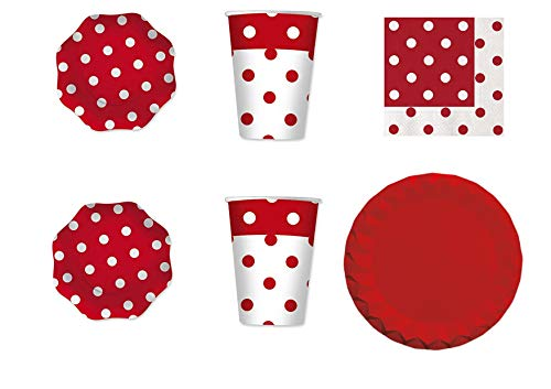 Tafelloper met rode stippen, 10 glazen, 20 servetten, 10 tafelkleden, 10 tafelkleden, 10 tafelkleden, 10 tafelkleden