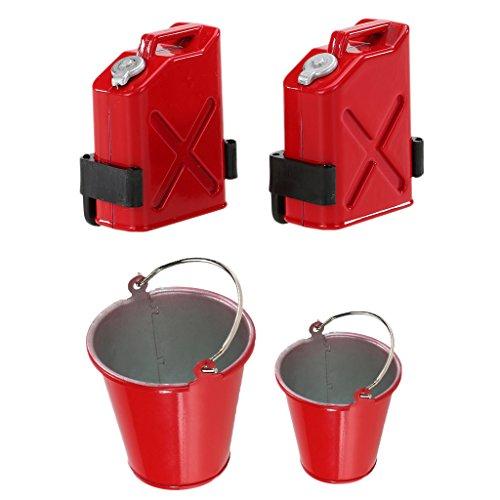 lahomia 2PCS Cubo Cubo Herramientas Modelo + Remolque Latas de Gasolina de Plástico para 1:10 Crawler