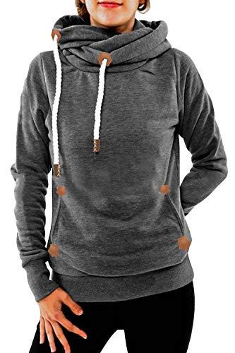 Cindeyar Damen Hoodie Winter Pullover Kapuzenpullover Langarm Baumwoll Mischung Warmer Sweatshirt Kapuzenjacke(Grau-1,M)