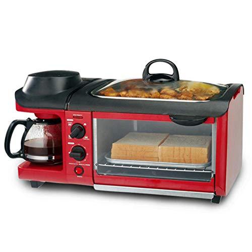 HKDJ-Domestico Elettrico 3 in 1 Macchina per La Colazione(Caffettiera 600W + 700 W Teppanyaki + Forno per Pane da 900 W) per Tostapane/Uovo Fritto/Caffettiera