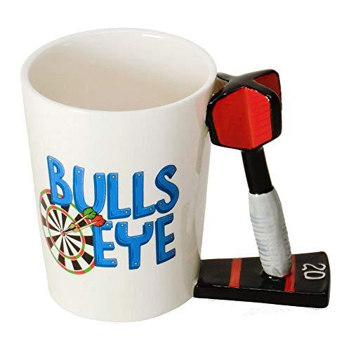 Darts - Bullseye Kaffeebecher mit Dartpfeil als Griff - Dart Bullseye Kaffeetasse