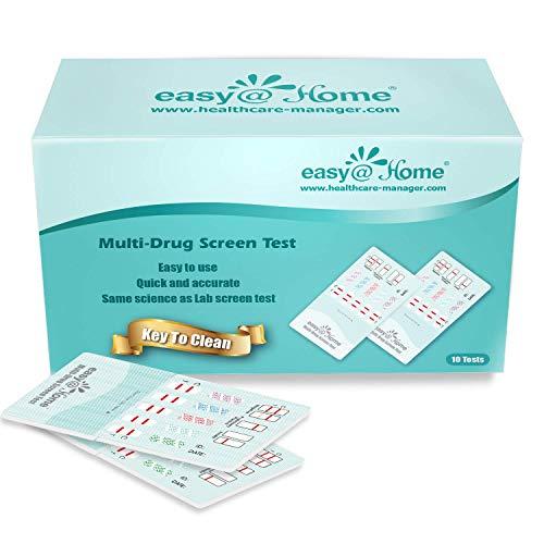 Easy@Home 5 Panel Instant Drug Test Kits - Testing Marijuana (THC), COC, OPI 2000, BZO, MET/mAMP - Urine Dip Drug Testing - #EDOAP-654-10 Pack - Expires 10/10/21