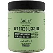 Anti-Fungal Tea Tree Oil Exfoliating Body and Foot Scrub with Dead Sea Minerals, Great for Acne, Dandruff, Athlete's Foot, Infused with Argan Oil and Shea Butter to Moisturize