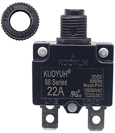 KUOYUH USA 22 Amp 88 Series Quick Connect Terminals Push-to-Reset Thermal Circuit Breaker with Transparent Waterproof Button Dust Cover (1-Pack)