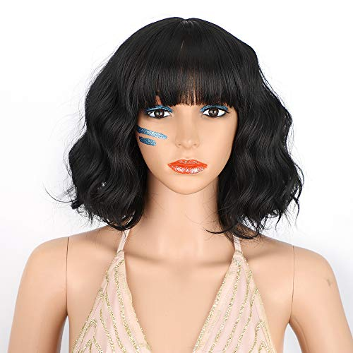 AISI HAIR Black Short Curly Bob Wigs With Bangs for Women Synthetic Black Wavy Wave Bob Wig Natural Heat Resistant Fiber Hair Wigs for Daily Party Life (Black)