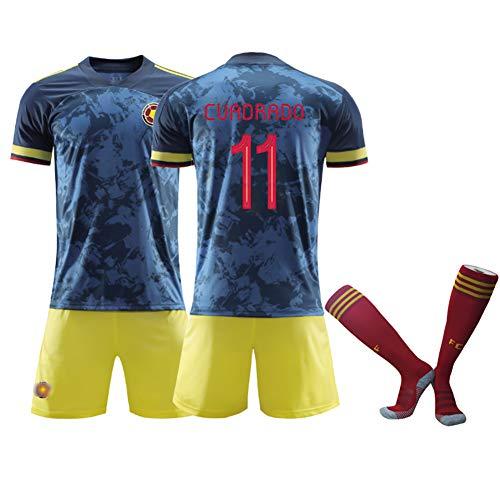 GWCASA Maglia da Calcio per Bambini 9 Falcao 11 Cuadrado Colombia Maglia Trasferta, Maglia da Calcio Estiva per Adulti T-Shirt Pantaloncini Calze Divise da allenamento-11#-L