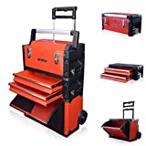 US PRO Tools Red Work Center Plastic Steel Mobile Rolling Chest Trolley Cart