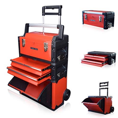 US PRO TOOLS plástico de color rojo, móvil de acero armario con ruedas para carrito para pecho 3en 1caja de herramientas