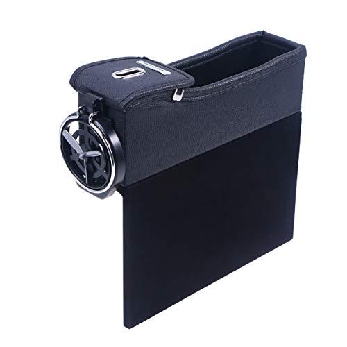 BESPORTBLE auto zijvak auto stoel Gap box zijdelingse organisatoren Catcher lederen opbergtas met opvouwbare beker houder voor portemonnee telefoon munt sigaret sleutel (zwart rood rechts), 1PCS, Zwart