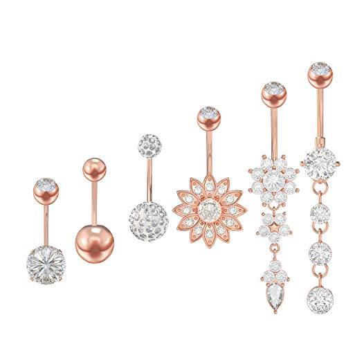 6 Stück Bauchnabelpiercing Bauchnabel Bauch Edelstahl Zirkon Piercing Nabelring Schmuck für Damen,6 Stile (Rose Gold/Silber) MEHRWEG