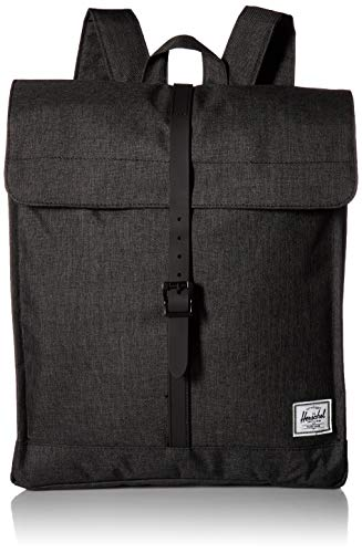 Herschel City Rucksack, Black Crosshatch/Black Rubber, mittleres Volumen 14.0L